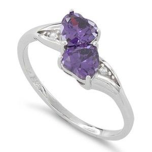 Jewelry - Sterling Siver Double Heart Amethyst Ring CZ Sz 8